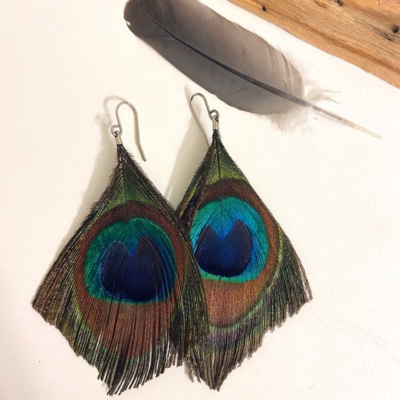 Peacock feathers bead over Black faux Leather Leaf Earrings